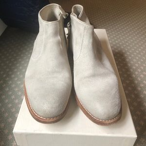 Soft and light gray Sunday n.d.c. zip up booties.